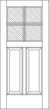 2 Raised Panel 4 Lite 375 Exterior Door
