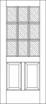 2 Raised Panel 9 Lite 625 Exterior Door