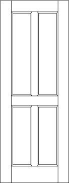 Traditional 4 Flat Panel Interior Door