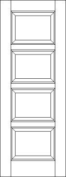 Horizontal 4 Raised Panel Solid Wood Interior Door