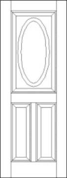 Raised Panel 3 Panel Door Oval Lite